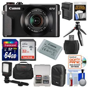 Canon PowerShot G7 X Mark II Wi-Fi Digital Camera Video Creator Kit with Canon Battery + Manfrotto Tripod 32GB and 64GB Card + Case + Video Light + Charger Kit