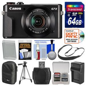 Canon PowerShot G7 X Mark II Wi-Fi Digital Camera with 64GB Card + Case + Battery and Charger + Tripod + Sling Strap + Kit