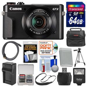 Canon PowerShot G7 X Mark II Wi-Fi Digital Camera with 64GB Card + Case + Flash + Battery and Charger + Tripod + Strap + Kit