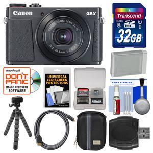 Canon PowerShot G9 X Mark II Wi-Fi Digital Camera - Black - with 32GB Card + Case + Battery + Flex Tripod + Kit