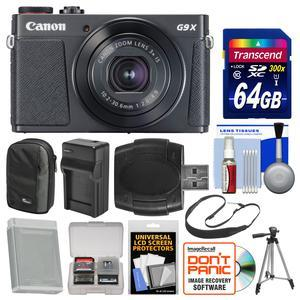 Canon PowerShot G9 X Mark II Wi-Fi Digital Camera - Black - with 64GB Card + Case + Battery and Charger + Tripod + Sling Strap + Kit