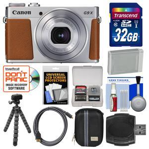 Canon PowerShot G9 X Mark II Wi-Fi Digital Camera - Silver - with 32GB Card + Case + Battery + Flex Tripod + Kit