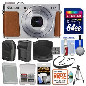 Canon PowerShot G9 X Mark II Wi-Fi Digital Camera - Silver - with 64GB Card + Case + Battery and Charger + Tripod + Sling Strap + Kit