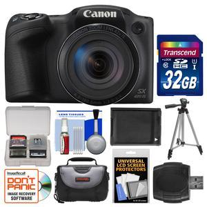 Canon PowerShot SX420 IS Wi-Fi Digital Camera - Black - with 32GB Card + Case + Battery + Tripod + Kit