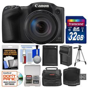 Canon PowerShot SX420 IS Wi-Fi Digital Camera - Black - with 32GB Card + Case + Battery and Charger + Tripod + Kit