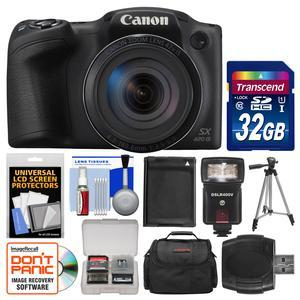 Canon PowerShot SX420 IS Wi-Fi Digital Camera - Black - with 32GB Card + Case + Flash + Battery + Tripod + Kit