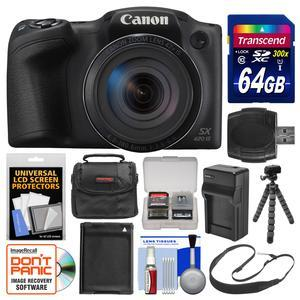 Canon PowerShot SX420 IS Wi-Fi Digital Camera - Black - with 64GB Card + Case + Battery and Charger + Flex Tripod + Sling Strap + Kit