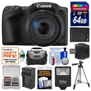 Canon PowerShot SX420 IS Wi-Fi Digital Camera - Black - with 64GB Card + Case + Flash + Battery + Charger + Tripod + Kit