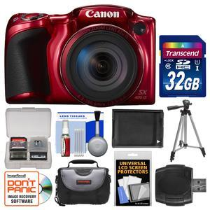 Canon PowerShot SX420 IS Wi-Fi Digital Camera - Red - with 32GB Card + Case + Battery + Tripod + Kit