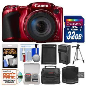 Canon PowerShot SX420 IS Wi-Fi Digital Camera - Red - with 32GB Card + Case + Battery and Charger + Tripod + Kit