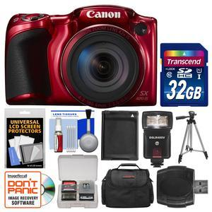 Canon PowerShot SX420 IS Wi-Fi Digital Camera - Red - with 32GB Card + Case + Flash + Battery + Tripod + Kit