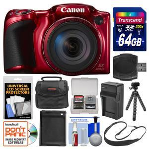 Canon PowerShot SX420 IS Wi-Fi Digital Camera - Red - with 64GB Card + Case + Battery and Charger + Flex Tripod + Sling Strap + Kit