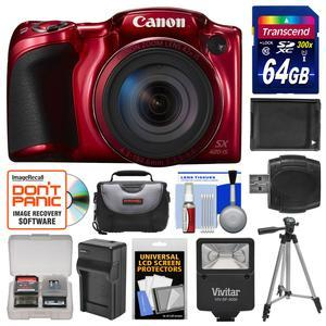 Canon PowerShot SX420 IS Wi-Fi Digital Camera - Red - with 64GB Card + Case + Flash + Battery + Charger + Tripod + Kit