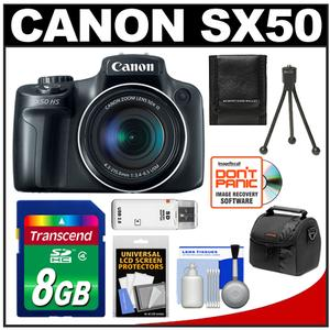 Canon PowerShot SX50 HS Digital Camera (Black) with 8GB Card + Case + Tripod + Accessory Kit at Sears.com