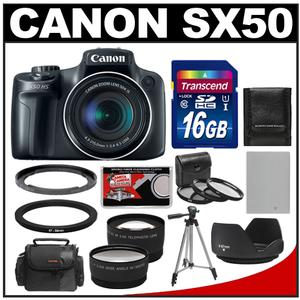Canon PowerShot SX50 HS Digital Camera (Black) with 16GB Card + Case + Battery + Tripod + 2 Lens Set + 3 UV/FLD/CPL Filters + Hood Kit