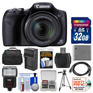 Canon PowerShot SX530 HS Wi-Fi Digital Camera with 32GB Card + Case + Flash + Battery and Charger + Tripod + Kit