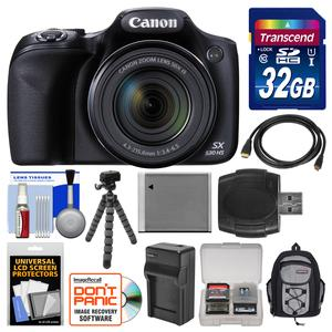 Canon PowerShot SX530 HS Wi-Fi Digital Camera with 32GB Card + Backpack + Battery and Charger + Flex Tripod + Kit