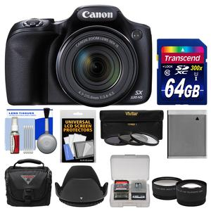 Canon PowerShot SX530 HS Wi-Fi Digital Camera with 64GB Card + Case + Battery + 3 Filters + Tele-Wide Lens Kit