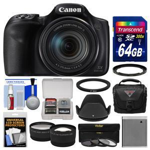 Canon PowerShot SX540 HS Wi-Fi Digital Camera with 64GB Card + Case + Battery + 3 Filters + Hood + Tele-Wide Lens Kit
