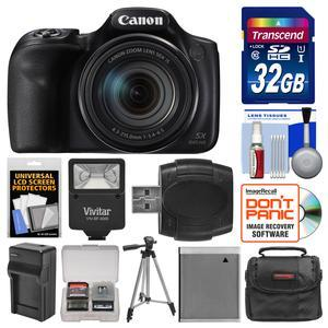 Canon PowerShot SX540 HS Wi-Fi Digital Camera with 32GB Card + Case + Flash + Battery and Charger + Tripod + Kit