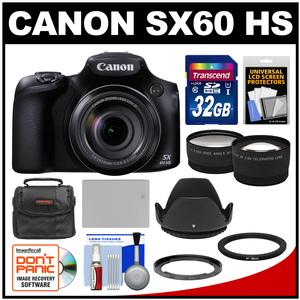 Canon PowerShot SX60 HS Wi-Fi Digital Camera with 32GB Card + Case + Battery + Hood + Tele-Wide Lens Kit