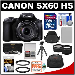 Canon PowerShot SX60 HS Wi-Fi Digital Camera with 16GB Card + Case + Battery + Flex Tripod + Filters + Tele-Wide Lens Kit