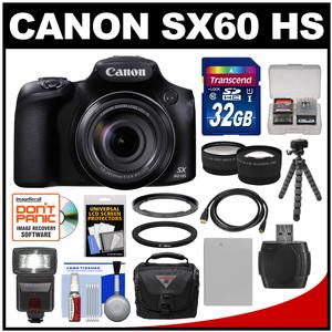 Canon PowerShot SX60 HS Wi-Fi Digital Camera with 32GB Card + Case + Flash + Battery + Tripod + Tele-Wide Lens Kit