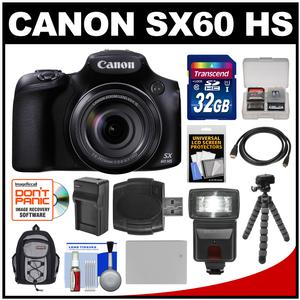Canon PowerShot SX60 HS Wi-Fi Digital Camera with 32GB Card + Backpack + Flash + Battery and Charger + Tripod + Kit