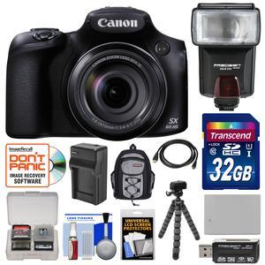 Canon PowerShot SX60 HS Wi-Fi Digital Camera with 32GB Card + Battery & Charger + Backpack + Flash + Tripod + HDMI Cable + Reader + Kit