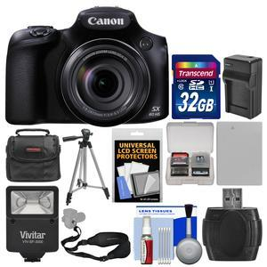 Canon PowerShot SX60 HS Wi-Fi Digital Camera with 32GB Card + Case + Flash + Battery and Charger + Tripod + Sling Strap + Kit