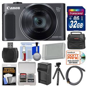 Canon PowerShot SX620 HS Wi-Fi Digital Camera - Black - with 32GB Card + Case + Battery + Charger + Flex Tripod + HDMI Cable + Kit