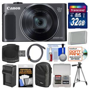 Canon PowerShot SX620 HS Wi-Fi Digital Camera - Black - with 32GB Card + Case + Battery + Charger + Tripod + HDMI Cable + Kit