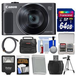 Canon PowerShot SX620 HS Wi-Fi Digital Camera - Black - with 64GB Card + Case + Flash + Battery + Tripod + HDMI Cable + Kit