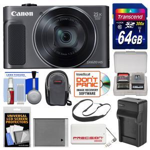 Canon PowerShot SX620 HS Wi-Fi Digital Camera - Black - with 64GB Card + Case + Battery + Charger + Power Bank + Sling Strap + Kit