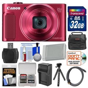 Canon PowerShot SX620 HS Wi-Fi Digital Camera - Red - with 32GB Card + Case + Battery + Charger + Flex Tripod + HDMI Cable + Kit