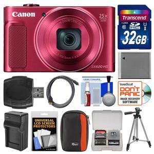 Canon PowerShot SX620 HS Wi-Fi Digital Camera - Red - with 32GB Card + Case + Battery + Charger + Tripod + HDMI Cable + Kit