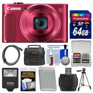 Canon PowerShot SX620 HS Wi-Fi Digital Camera - Red - with 64GB Card + Case + Flash + Battery + Tripod + HDMI Cable + Kit