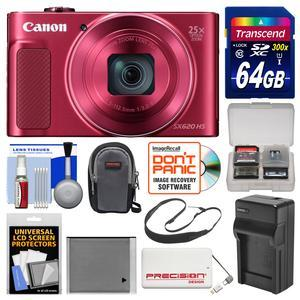Canon PowerShot SX620 HS Wi-Fi Digital Camera - Red - with 64GB Card + Case + Battery + Charger + Power Bank + Sling Strap + Kit
