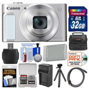 Canon PowerShot SX620 HS Wi-Fi Digital Camera - Silver - with 32GB Card + Case + Battery + Charger + Flex Tripod + HDMI Cable + Kit