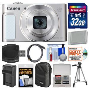 Canon PowerShot SX620 HS Wi-Fi Digital Camera - Silver - with 32GB Card + Case + Battery + Charger + Tripod + HDMI Cable + Kit