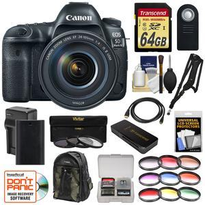 Canon EOS 5D Mark IV 4K Wi-Fi Digital SLR Camera and EF 24-105mm f-4L IS II USM Lens with 64GB SD Card and Battery and Charger and Backpack and Filters and Sling Strap Kit