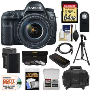 Canon EOS 5D Mark IV 4K Wi-Fi Digital SLR Camera and EF 24-105mm f-4L IS II USM Lens with 64GB SD Card and Battery and Charger and Case and 3 Filters and Tripod and Kit