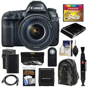 Canon EOS 5D Mark IV 4K Wi-Fi Digital SLR Camera and EF 24-105mm f-4L IS II USM Lens with 64GB CF Card and Battery and Charger and Backpack and 3 Filters and Kit