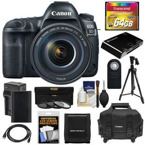 Canon EOS 5D Mark IV 4K Wi-Fi Digital SLR Camera and EF 24-105mm f-4L IS II USM Lens with 64GB CF Card and Battery and Charger and Case and 3 Filters and Tripod and Kit