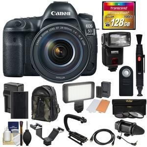 Canon EOS 5D Mark IV 4K Wi-Fi Digital SLR Camera and EF 24-105mm f-4L IS II USM Lens with 128GB CF Card and Battery and Charger and Backpack and Flash and LED Light and Microphone and Kit