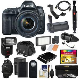 Canon EOS 5D Mark IV 4K Wi-Fi Digital SLR Camera and EF 24-105mm f-4L IS II USM Lens with 128GB CF Card and Battery and Charger and Grip and Case and Flash and LED Light and Mic and Kit