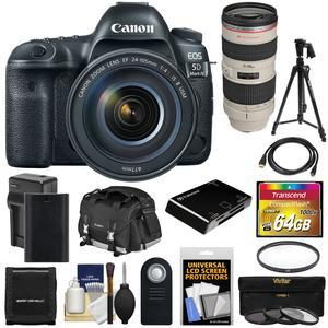 Canon EOS 5D Mark IV 4K Wi-Fi Digital SLR Camera and EF 24-105mm f-4L IS II USM Lens with 70-200mm f-2.8L Lens and 64GB CF Card and Battery and Charger and Case and Filters and Tripod Kit