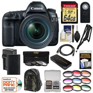 Canon EOS 5D Mark IV 4K Wi-Fi Digital SLR Camera and EF 24-70mm f-4L IS USM Lens with 64GB SD Card and Battery and Charger and Backpack and 12 Filters and Sling Strap and Kit