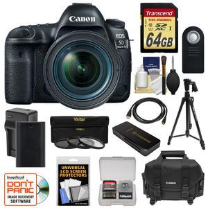 Canon EOS 5D Mark IV 4K Wi-Fi Digital SLR Camera and EF 24-70mm f-4L IS USM Lens with 64GB SD Card and Battery and Charger and Case and 3 UV-CPL-ND8 Filters and Tripod and Kit