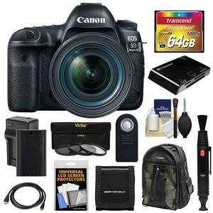 Canon EOS 5D Mark IV 4K Wi-Fi Digital SLR Camera and EF 24-70mm f-4L IS USM Lens with 64GB CF Card and Battery and Charger and Backpack and 3 UV-CPL-ND8 Filters and Kit